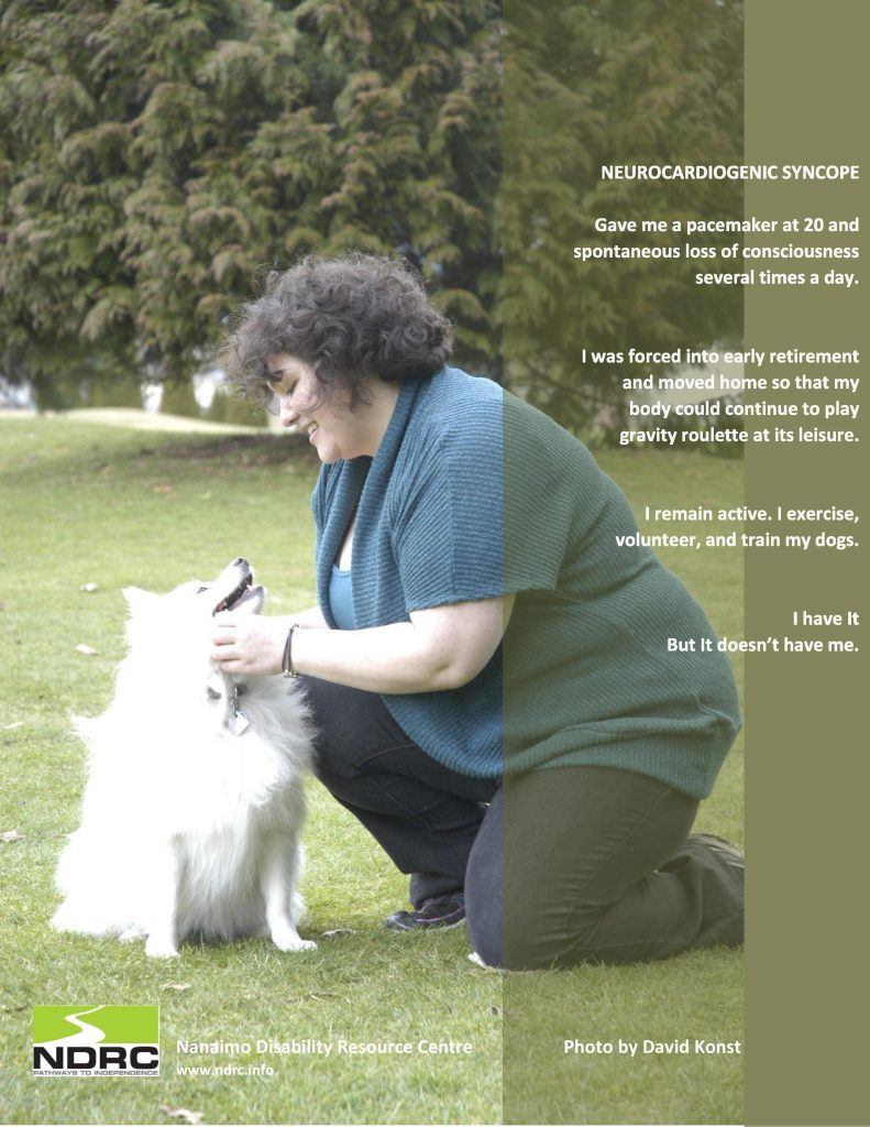 A picture of a woman and a white fluffy dog, telling her story of having neurocardiogenic syncope