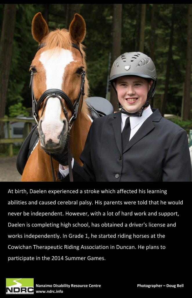 A horse and a picture of Daelen, a boy in a helmet. This image details his story of cerebral palsy and learning to ride horses.