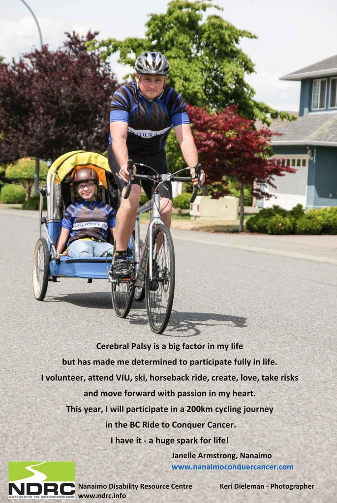 The story of a woman who has cerebral palsy and continues to live life fully, with the image of a cyclist pulling a trailer with a person in it