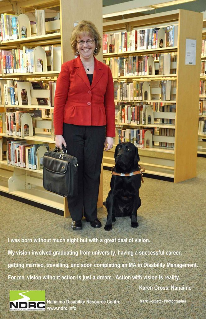 An image of a woman with her black service dog, who tells her story of being low vision