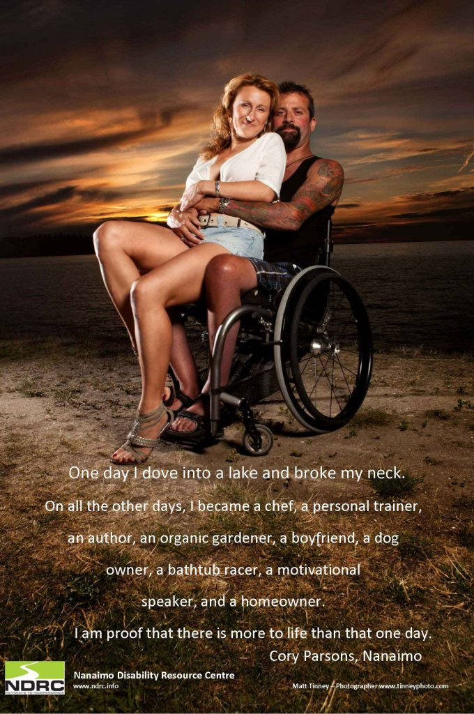 The story of a man who broke his neck, but who continues to thrive despite what his injury caused, with an image of a man in a wheelchair holding a woman in his arms.
