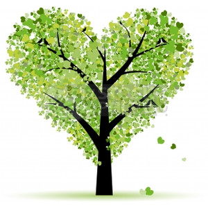 A green heart shaped tree with heart shaped leaves