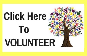 "black text saying ""click here to volunteer"" with a tree of rainbow hands to the right and a yellow border"