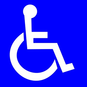 A white logo of a person in a wheelchair on a blue background