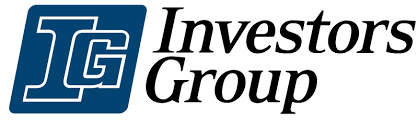 An overlapping I and G inside a blue parallelogram with Investors Group written to the right in black