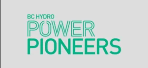 Green text logo. BC Hydro Power Pioneers