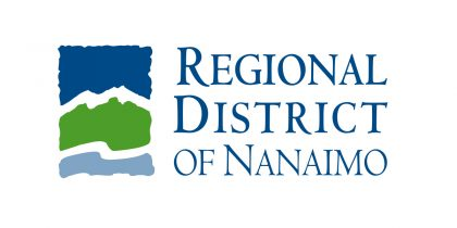 Regional District of Nanaimo logo, a multicoloured rectangle with jagged edges with thin sections of white separating each of the three colours. Top to bottom colours, dark blue, green and light blue.