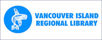 Vancouver Island Regional Library logo, blue circle with a white outline of a traditional native american design whale with blue lettering to the right with the words Vancouver Island Regional Library