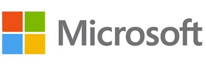 Microsoft Logo, 4 coloured squares, orange, green, blue, and yellow (ordered top left, top right, bottom left, bottom right) next to gray text with the word Microsoft