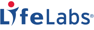 LifeLabs logo, Blue text with a red dot over the I