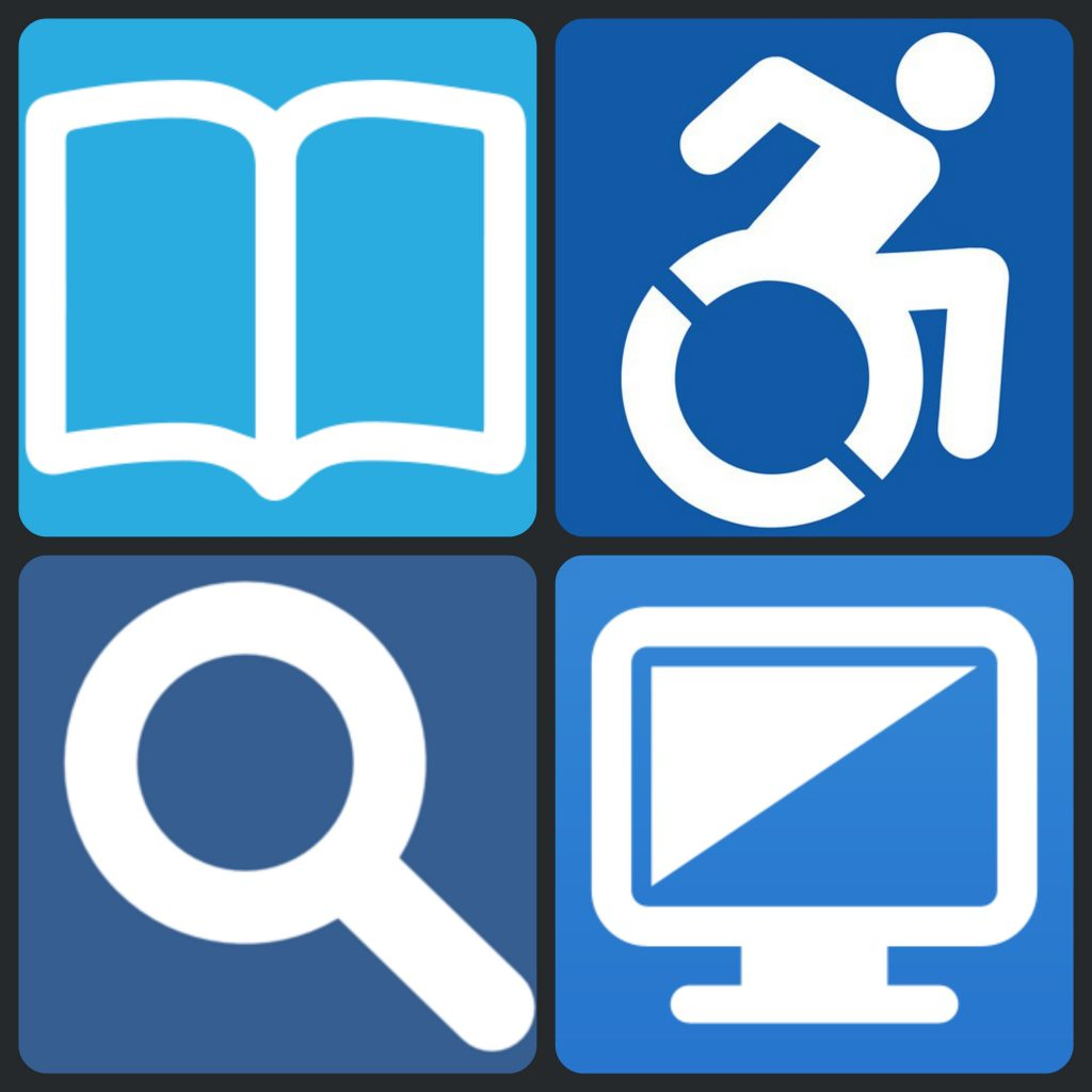 A book, the wheelchair accessible image, a magnifying glass, and a computer monitor, all with blue backgrounds