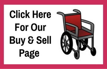 "Black text saying ""Click here for our buy and sell page"" with an empty red wheelchair to the right and a red border."