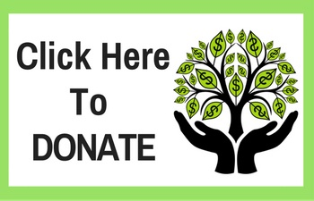 "Black text saying ""Click here to donate"" with a money tree coming out of hands bowled with a green border"