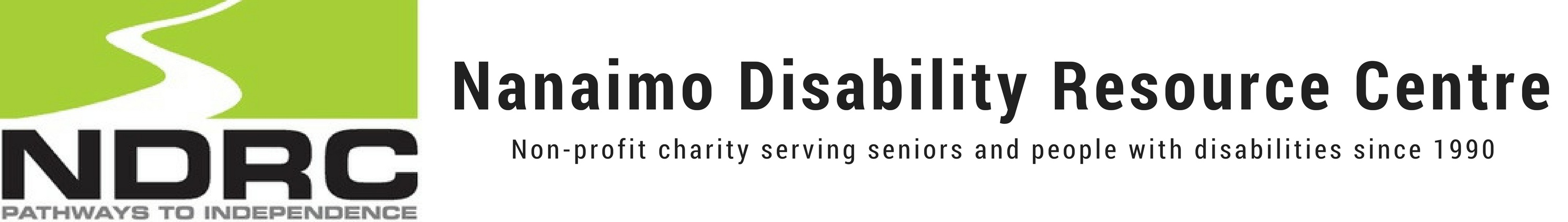 """A white road on a green background with """"NDRC"""" below in black and """"Pathways to independence"""" in grey below that. To the right is """"Nanaimo Disability Resource Centre"""" with """"Non-proft charity serving seniors and people with disabilities since 1990"""""""