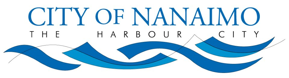 City of Nanaimo in blue with the harbour city underneath it in black, with some blue waves underneath