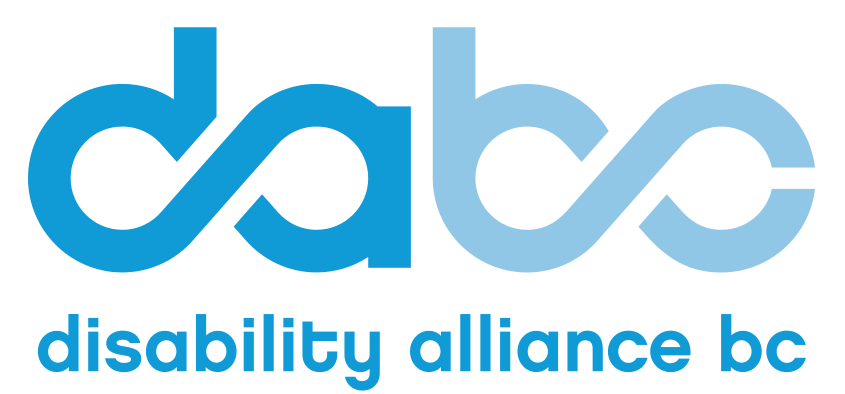 da and bc forming infinity symbols within each pair in blue, written underneath is disability alliance bc in blue