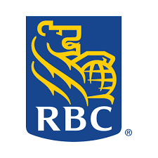 A golden lion holding a globe, with the letters RBC in white below it, all inside a blue rectangle