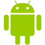 An Android logo, green robot