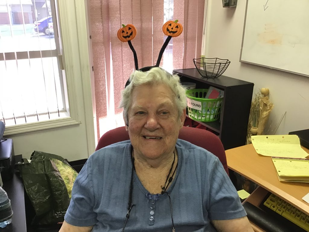 NDRC student wearing a headband with pumpkins to celebrate halloween