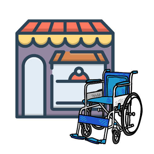a wheelchair in front of a store